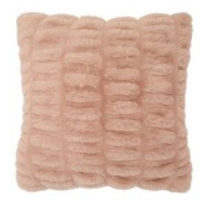 INDIGO RUCHED FAUX-FUR PILLOW COVER - DUSTY BLUSH